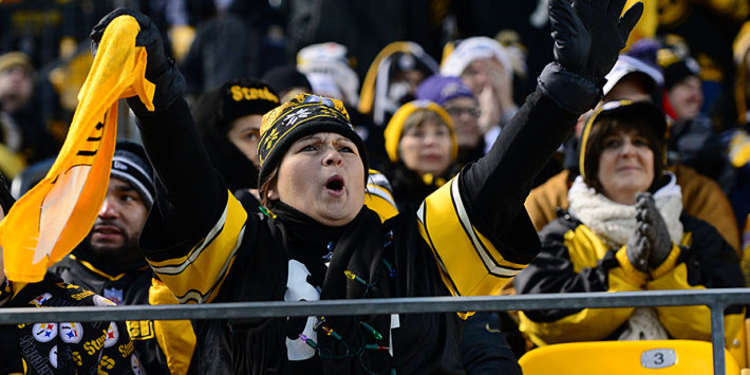 Pittsburgh Steelers fan cheering for her team