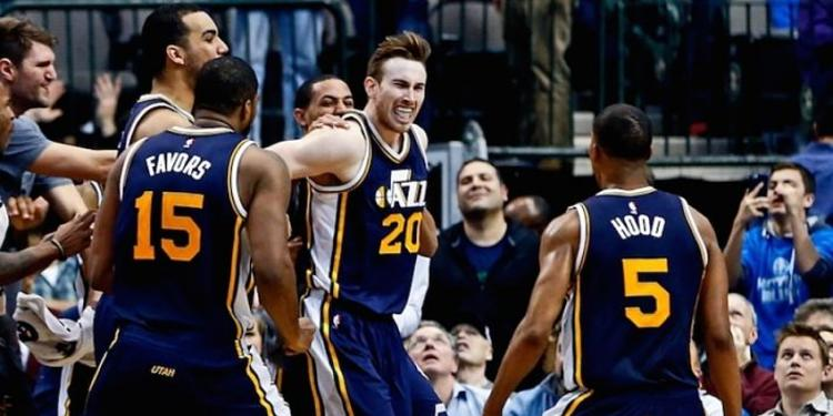 Utah Jazz players celebrating
