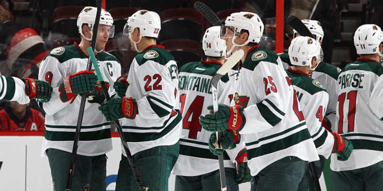 Minnesota Wild players celebrating
