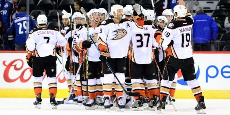 Anaheim Ducks players celebrating