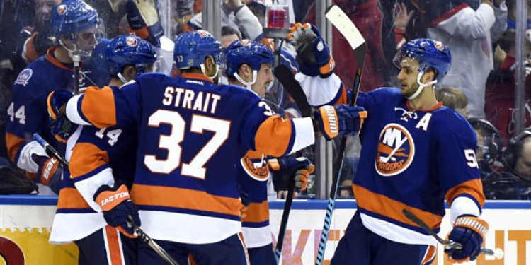 N.Y. Islanders  players celebrating