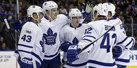 Toronto Maple Leafs players celebrating