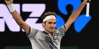 Tennis player Roger Federer celebrating