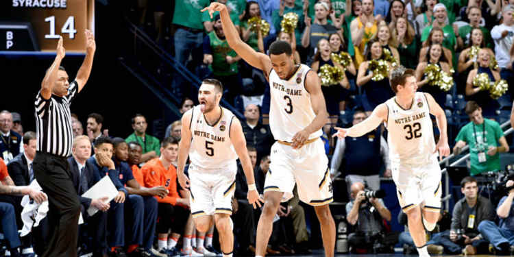 Notre Dame Fighting Irish players celebrating