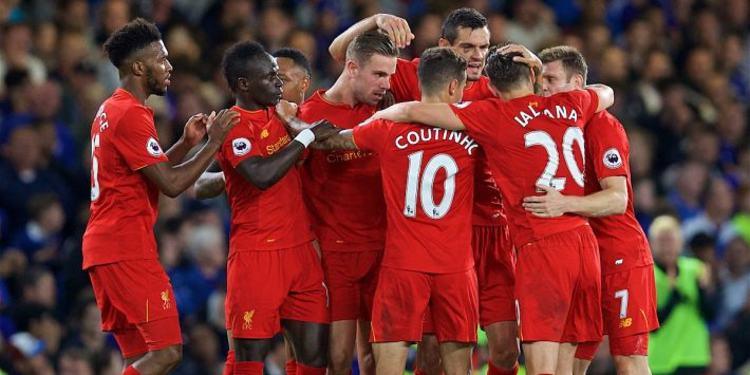 Liverpool players gathered around