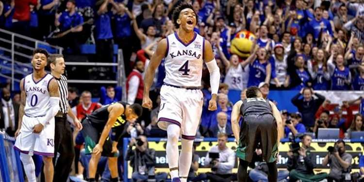 Kansas Jayhawks player celebrating