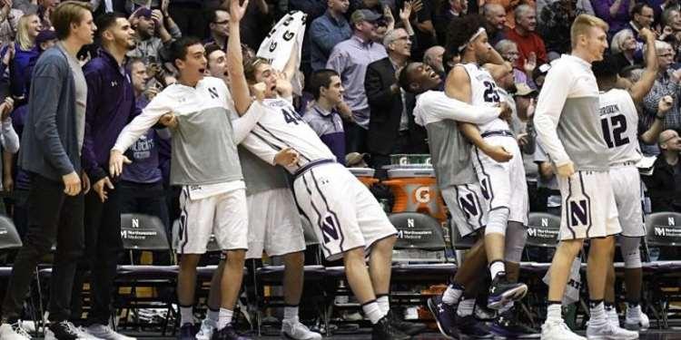 Northwestern Wildcats players celebrating