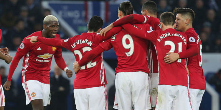 Manchester United players celebrating
