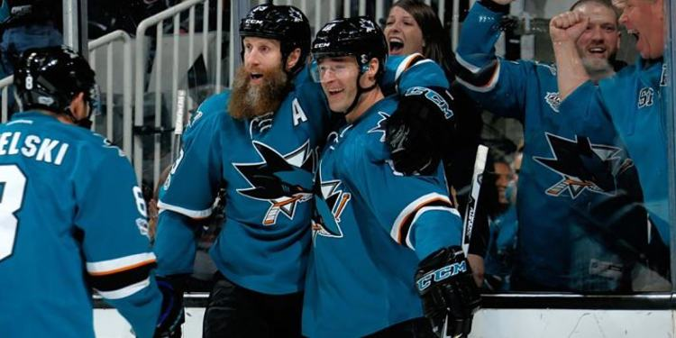 San Jose Sharks players celebrating