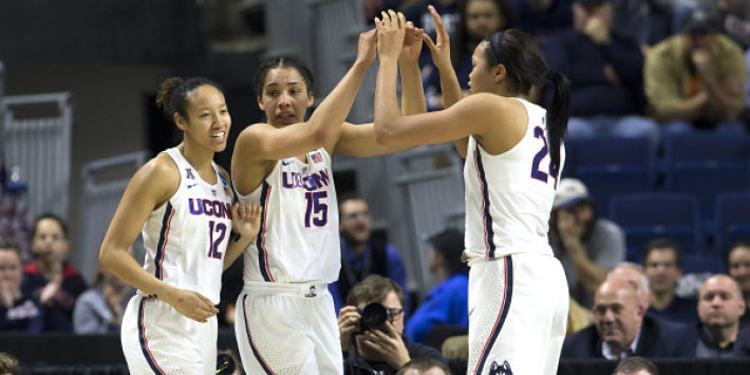 UConn Huskies players celebrating