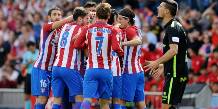 Atletico Madrid players celebrating