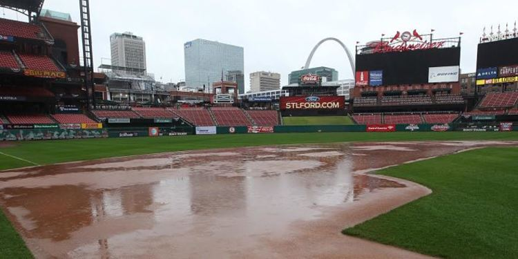 Busch Stadium at a rainy day
