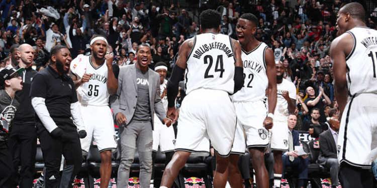 Brooklyn Nets team celebrating