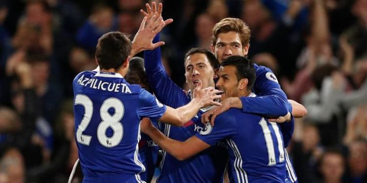 Chelsea F.C. players celebrating