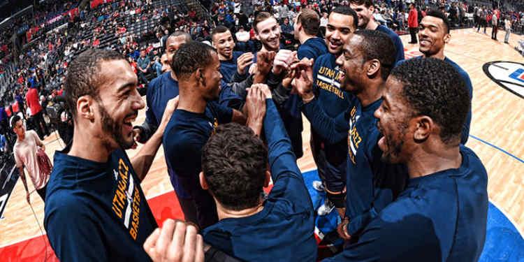 Utah Jazz players celebrating