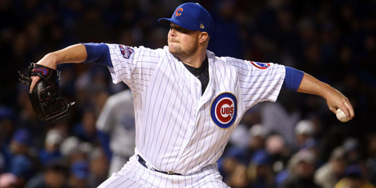 Cubs pitcher Jon Lester in action