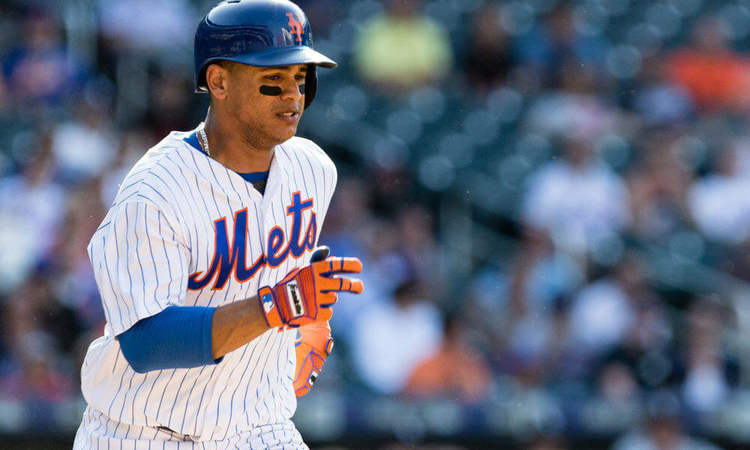 N.Y. Mets player Juan Lagares in action