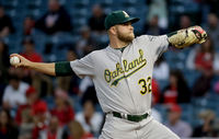 A's pitcher Jesse Hahn in action