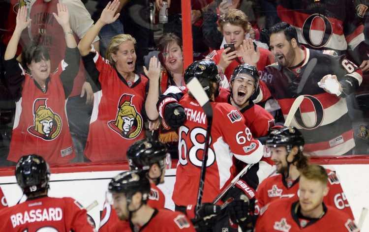 Ottawa Senators players celebrating