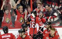 Ottawa Senators players celebrating
