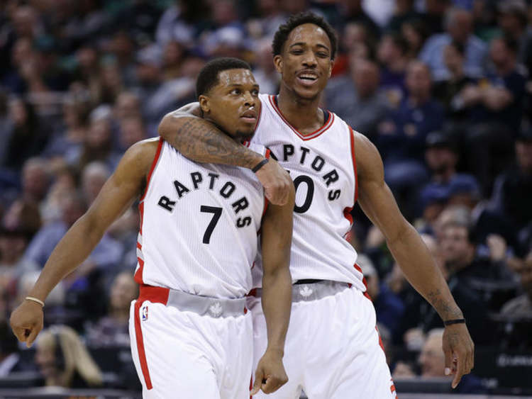 Toronto Raptors players celebrating