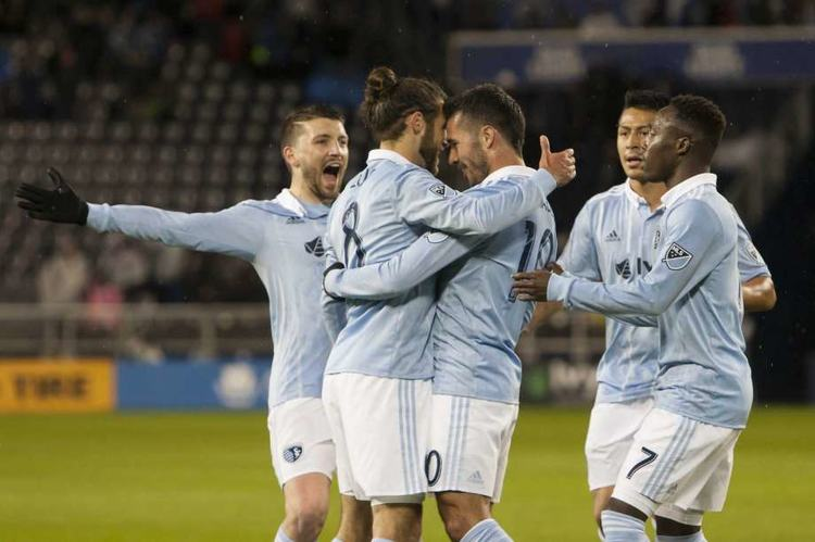 Sporting Kansas City players celebrating