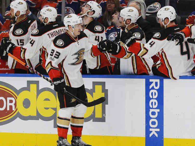 Anaheim Ducks player walking to bench