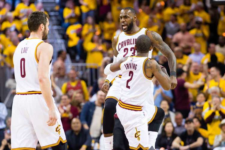 Cleveland Cavaliers players celebrating