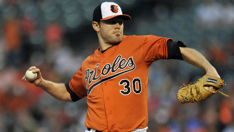 Orioles pitcher Chris Tillman in action