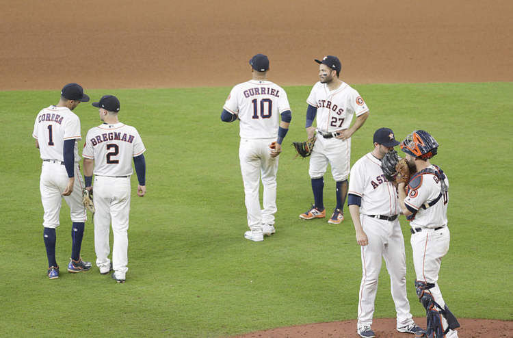 Houston Astros players in field