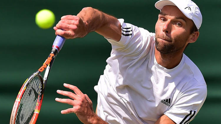 Professional tennis player Ivo Karlovic in action