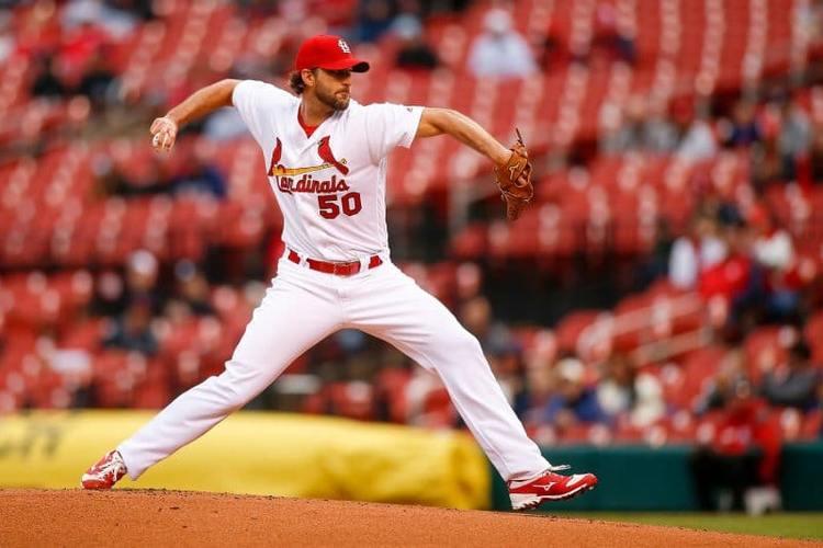 Cardinals pitcher Adam Wainwright in action