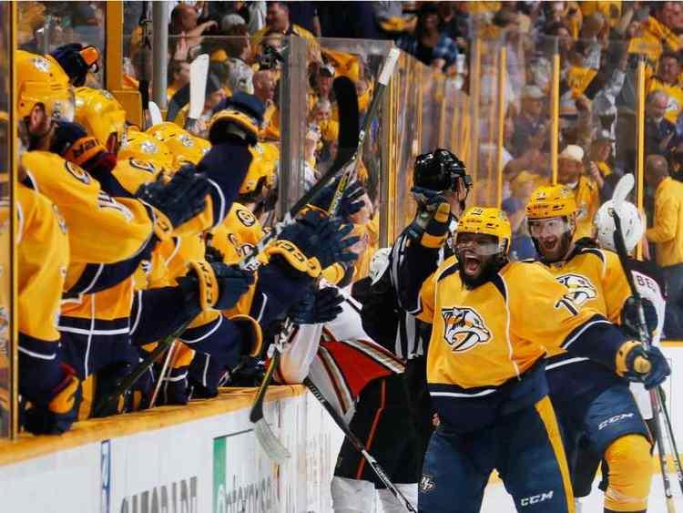 Nashville Predators players celebrating