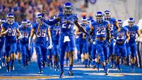 Boise State player running to field