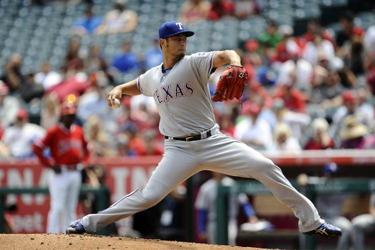 Rangers pitcher Yu Darvish in action