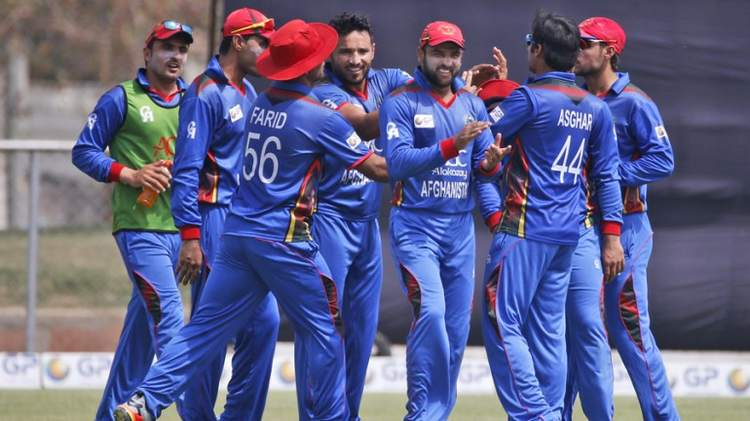 Afghanistan cricket team gathered around