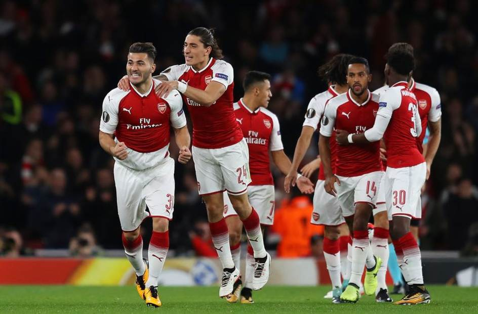 Arsenal FC players celebrating