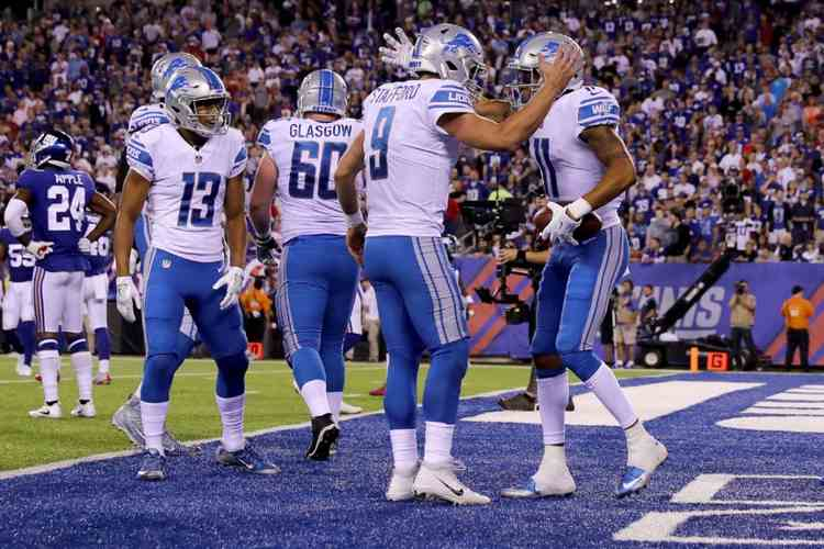 Detroit Lions players celebrating
