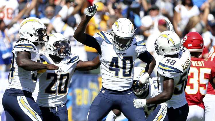 L.A. Chargers players celebrating