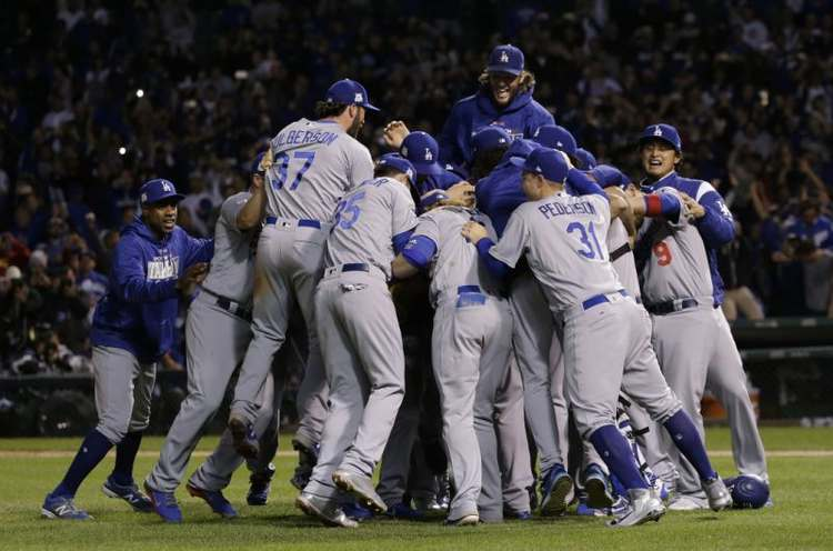 Los Angeles Dodgers players celebrating