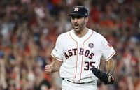 Justin Verlander pitcher celebrating