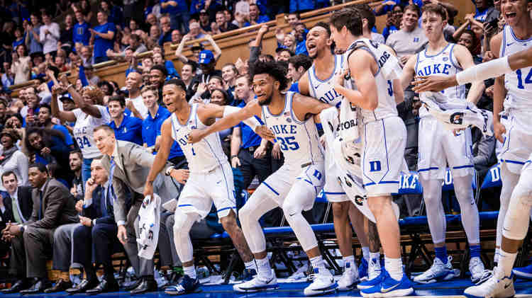 Duke Blue Devils players celebrating