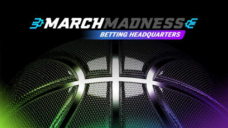 March Madness Betting Headquarters  promotion with  tournament bracket and basketball in neon colors
