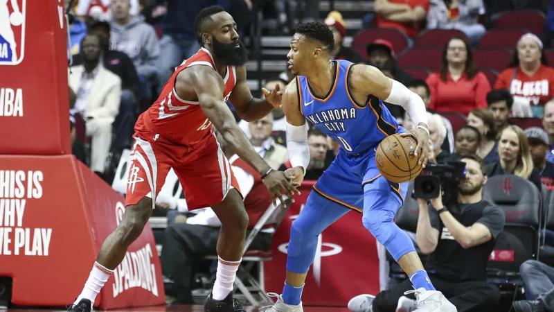 7d0a368b8734 Thunder-Rockets  Harden Gets Best Of Westbrook